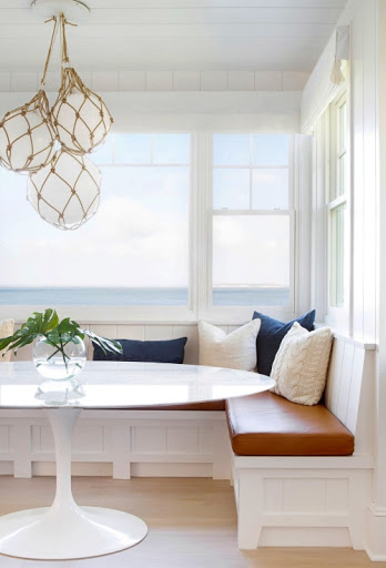 Coastal Nautical Dining Room Nook with Fishing Glass Float Globe Hanging Pendant Light Chandelier