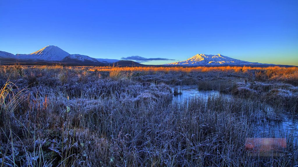 Sunrise on the Tongariro Mountains on a cold National Park Morning