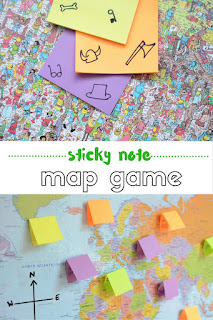 "Printable Game ""Sticky Note on Maps"" By Practical Mom"