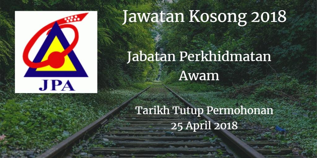 Jawatan Kosong JPA 25 April 2018