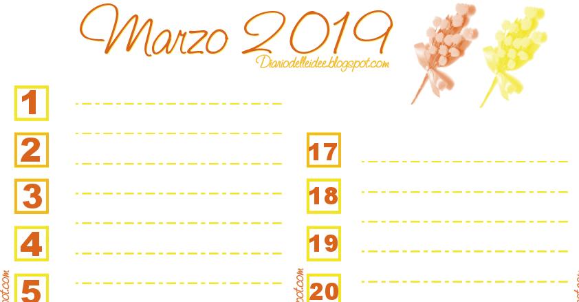 Calendario Appunti Da Stampare.Diario Delle Idee Calendario Planner Marzo 2019