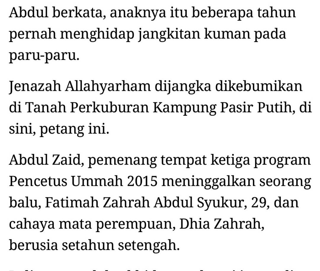 pencetus ummah 2015, pu zaid meninggal dunia pilihan andaallahyarham meninggal dunia kira kira jam 10 pagi tadi di hospital tawau selepas mengalami sesak nafas