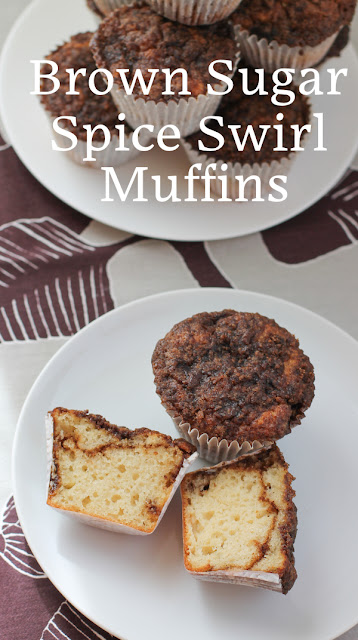 Food Lust People Love: These brown sugar spice swirl muffins require four bowls, two more than my normal muffin recipes because of the sweet spicy swirl and crumble topping, but I promise they are well worth the washing up! The muffins themselves are plain with only vanilla for flavoring. They'd be fine on their own if you chose to make just the batter. Adding a bit of a swirl and/or the crumble topping does make them special though.