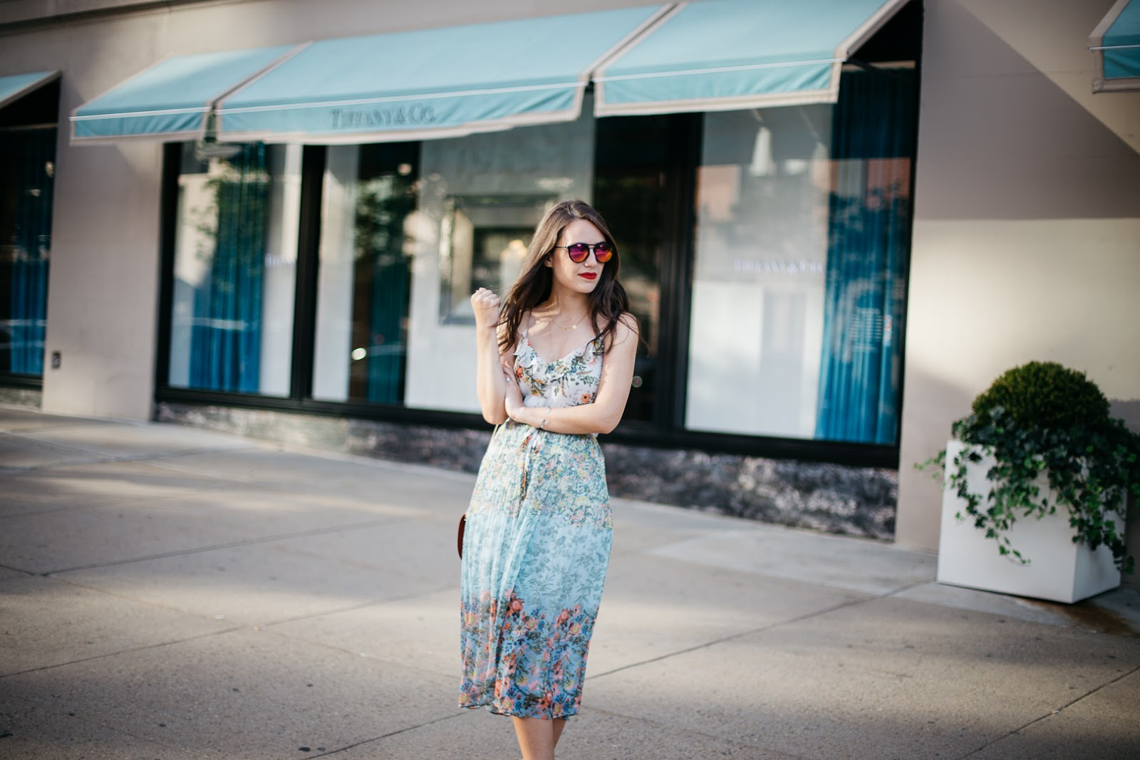 Snap up this pretty blue floral dress on sale before it's too late