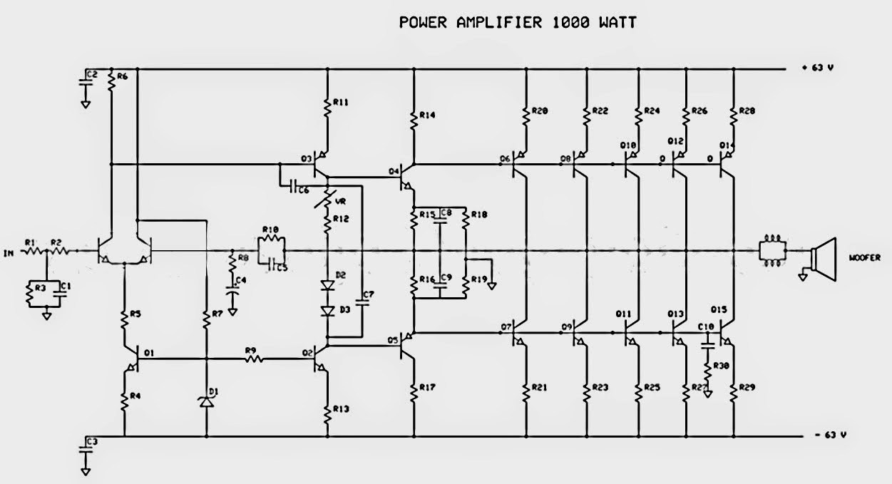 1000W Power Audio Amplifier Circuit Design woofer power amplifier circuit amplifiercircuit circuit diagram