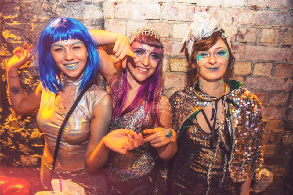 Space themed festival fancy dress, sequins, glitter, purple hair