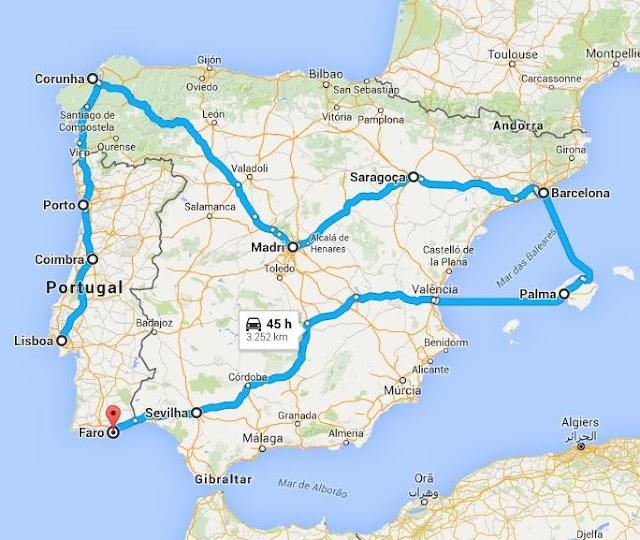 Eurotrip Roteiro Europa Portugal Espanha Península Ibérica Lisboa Madri Barcelona Palma de Maiorca Faro Sevilha Saragoça Porto Coimbra Corunha