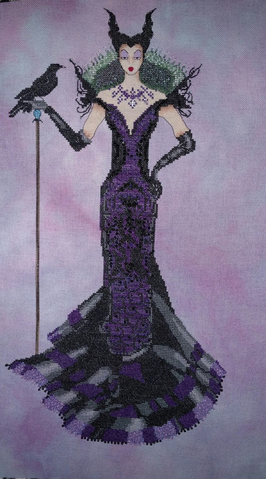 Twistedntangled threads completed cross stitch conversion of the raven queen by mirabilia original chart designed by nora corbett stitched on 32 ct lugana by fabbys by stephanie using dmc waterlilies nvjuhfo Image collections