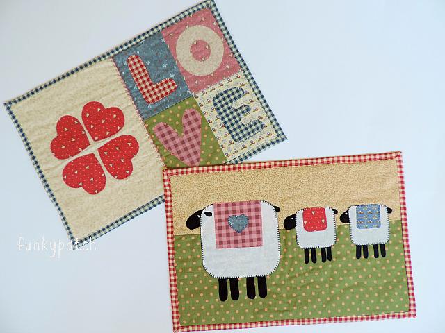 Mug rugs o mantelitos individuales con aplicacione handmade