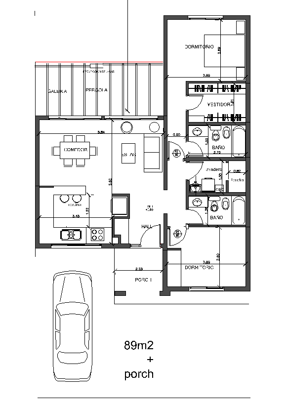 Arquitectura y dise o plano de casa de un piso de 90 for Diseno de apartamentos de 90 metros cuadrados