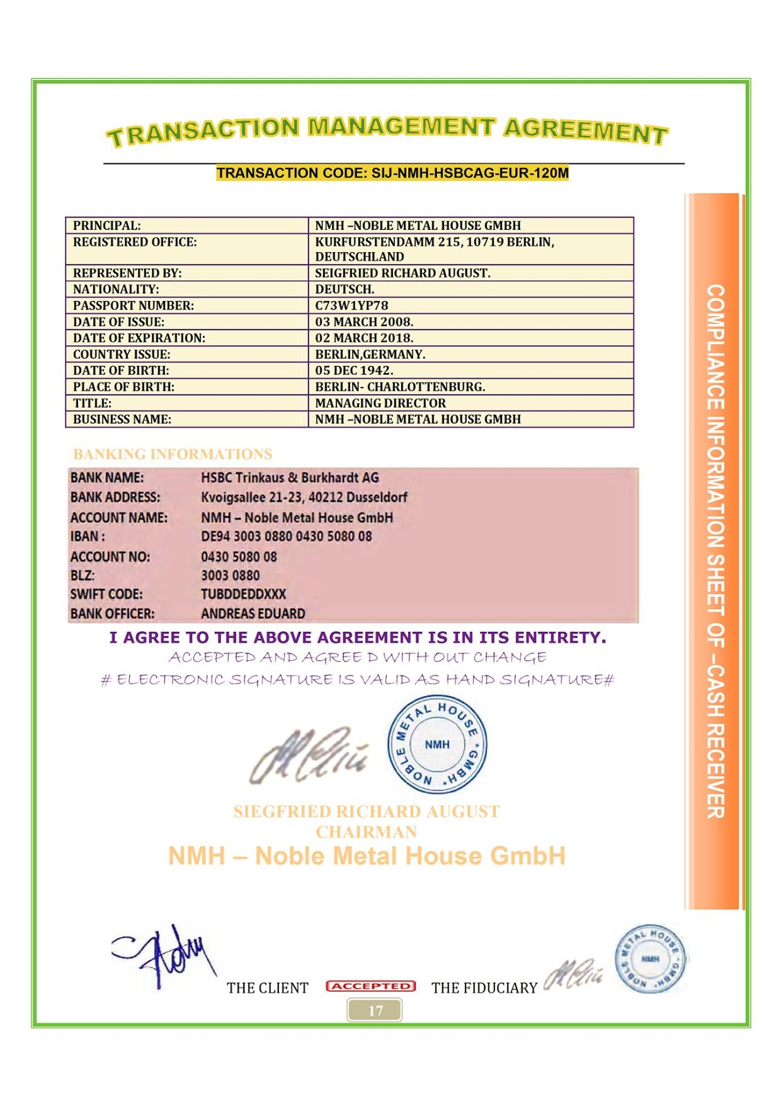 NOBLE METAL HOUSE INVLOVED IN FINANCIAL CRIME TOGETHER WITH