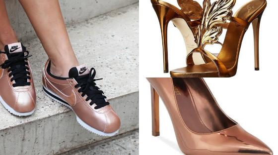 sapatos cor bronze