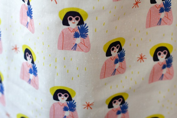 fabric printed with girls