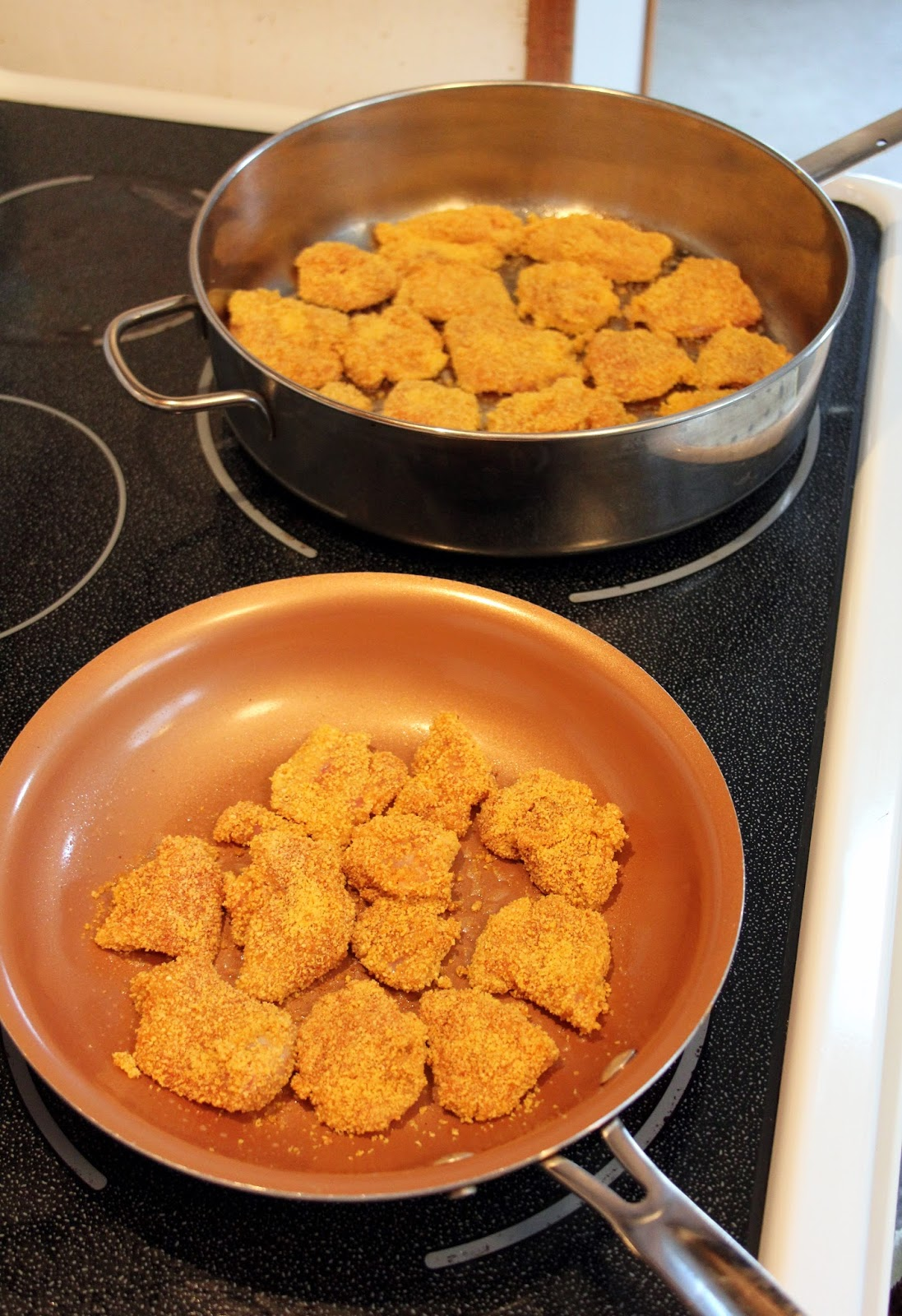 Place Each Piece Of Chicken In A Single Layer In The Prepared Frying Pans  Continue Until All Pieces Are Covered Use The Reserved Coating Crumbs To  Refill