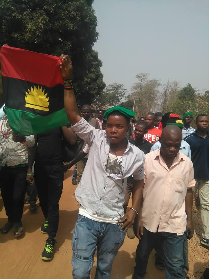 IPOB stage massive protest as President Buhari visits Enugu