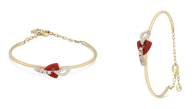 Mia by Tanishq 14KT Yellow Gold, Diamond and Coral Bangle for Women
