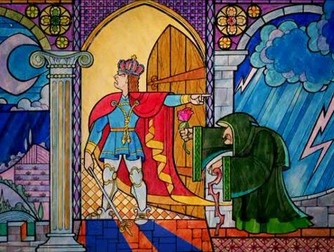 Vidriera del príncipe y la mendiga en La Bella y la Bestia - Cine de Escritor