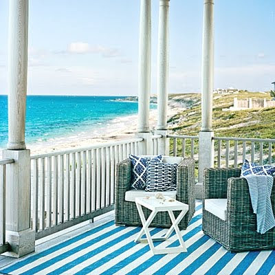blue and white striped outdoor rug