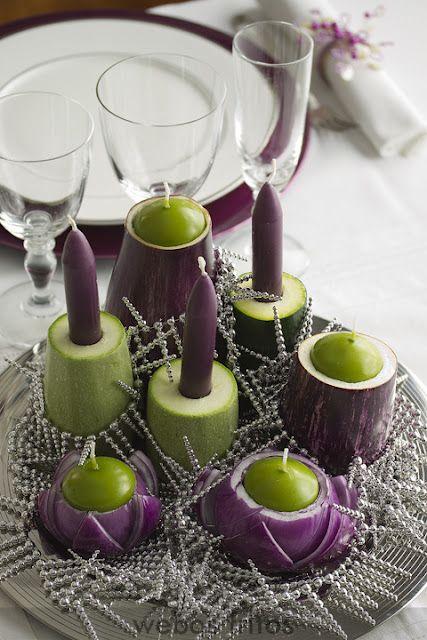 centros de mesas con verduras