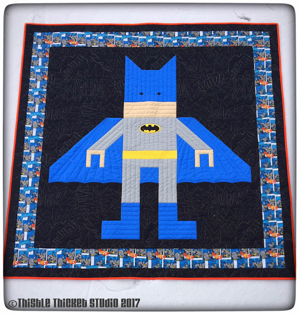 Thistle Thicket Studio, batman quilt, lego batman, lego quilt, quilts, quilting