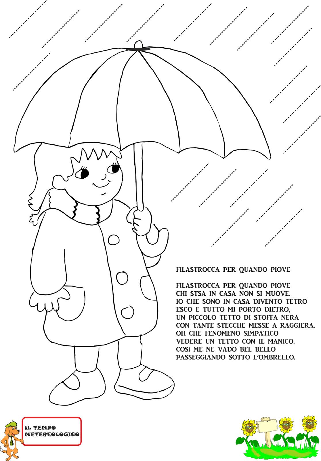 Favoloso A Scuola con Poldo: Schede sulla pioggia KV36