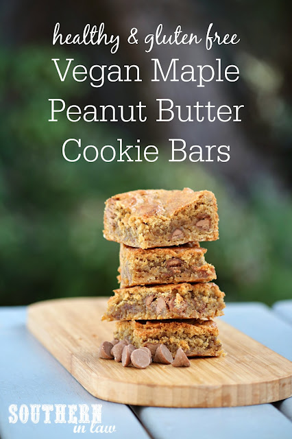 Easy Vegan Maple Peanut Butter Cookie Bars Recipe - gluten free, vegan, egg free, dairy free, healthy, sugar free, clean eating dessert recipe