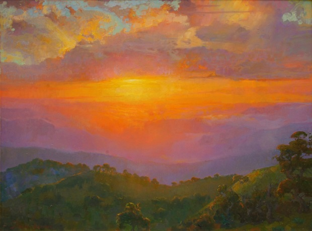 "by Peter Adams, ""Transcendence, Sunset over Tejon Ranch"" - oil on panel 