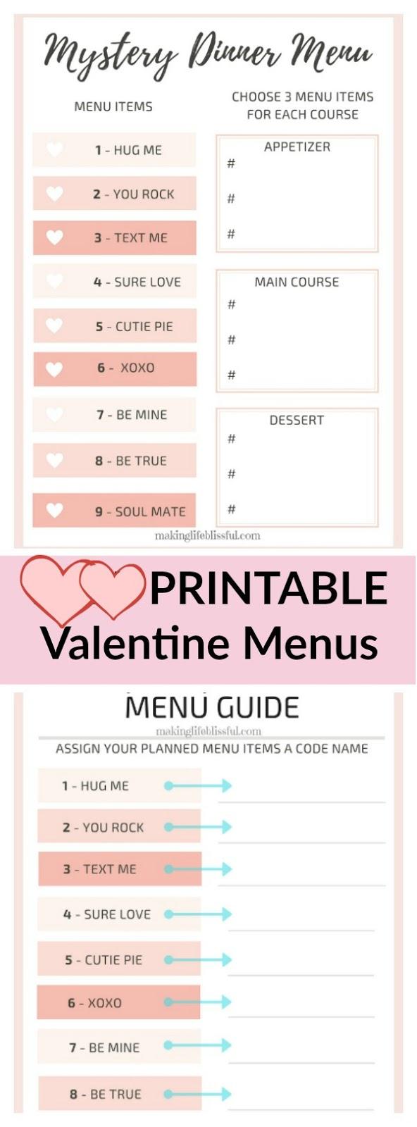Printable Valentine Mystery Dinner Menus   Making Life Blissful