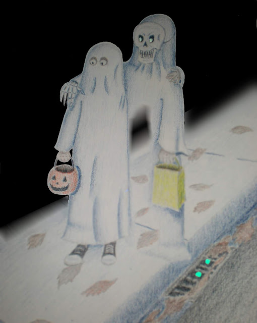 Two boys trick-or-treating down a sidewalk--one in ghost costume and the other a semi-transparent ghost.