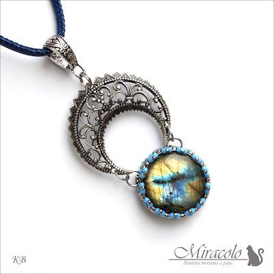 Miracolo, wisiorek z labradorytem, księżycowy wisiorek, labradoryt, labradorite pendant, moon pendant