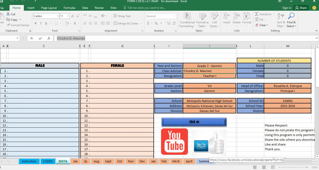 Automated SF 2 PupilsStudents Daily Attendance Sheet – Daily Attendance Template