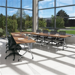 V shaped office table configuration