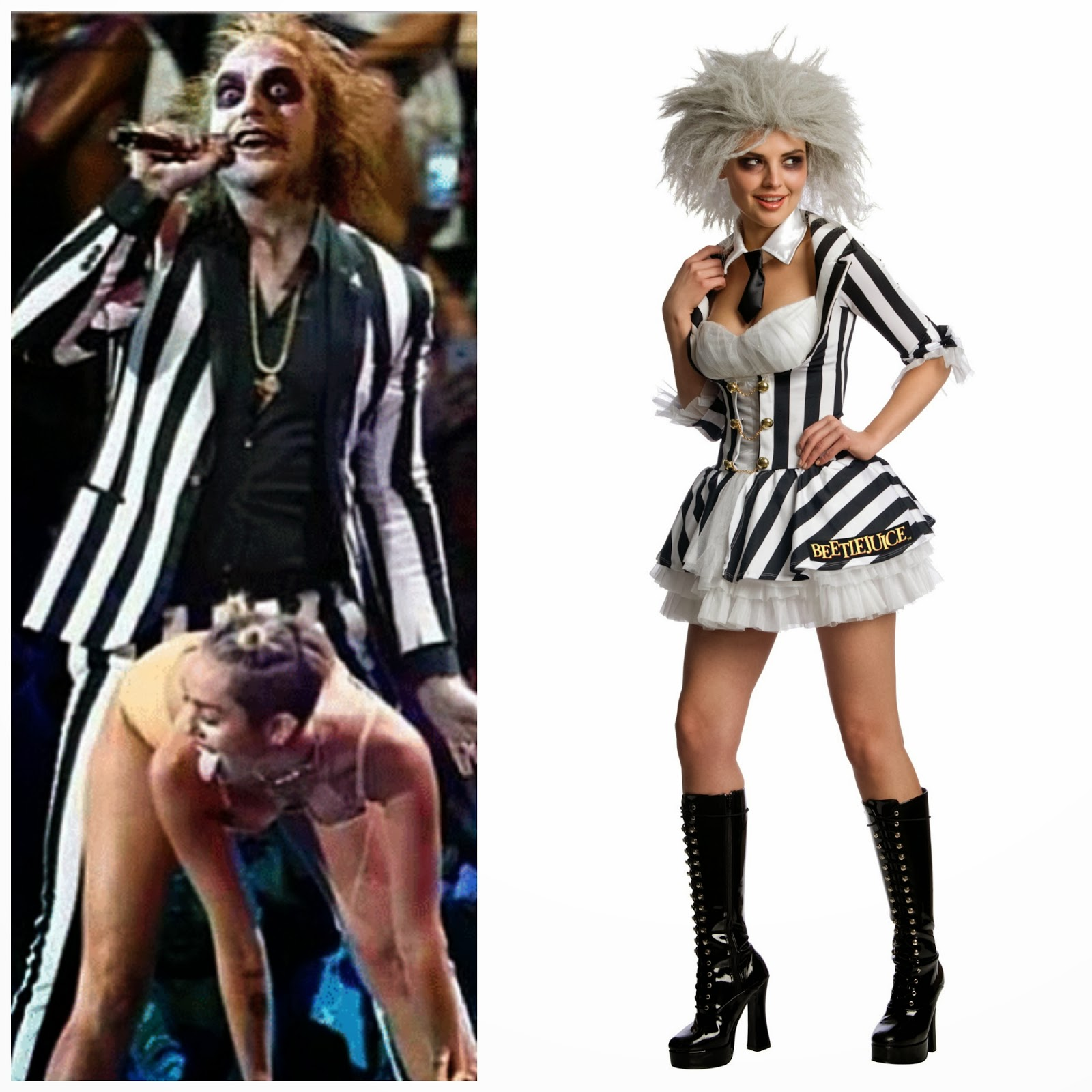 Miley Cyrus & Robin Thicke, Miley Cyrus & Robin Thicke Beetlejuice, Hannah Montanna, Female Beetlejuice Outfit, Female Fancy Dress outfit