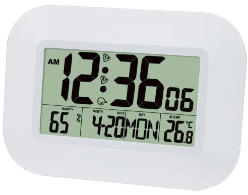 Большие настенные электронные часы белого цвета с будильником температурой и влажностью по лучшей цене | wall mounted electronic clock