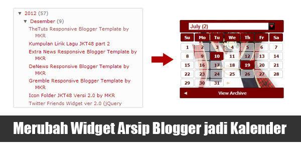 Merubah Widget Arsip Blogger menjadi Kalender