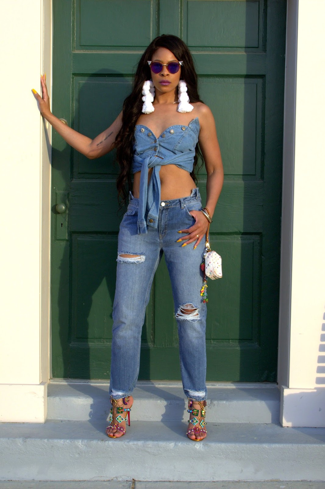 tassel earrings, kaleikita sandal, allthingsslim, shayla drake, shayla greene, denim on denim trend