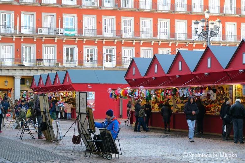 クリスマス時期のマドリードのマヨール広場