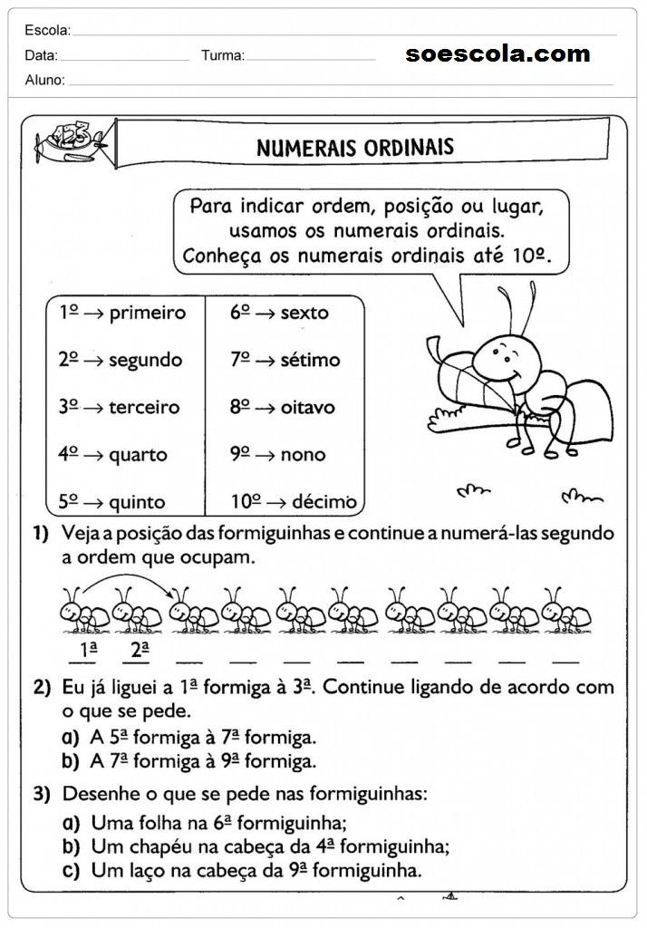 Atividades com Números, Ordinais Atividades Educativas com Números ordinais, Atividades Educativas com Números ordinais ,Observe e marque os números ordinais, Números ordinais – Responda, Tabela dos números ordinais, Qual é o número ordinal?, Cruzadinha com números ordinais Números Ordinais - Atividade Números Ordinais – Atividade,