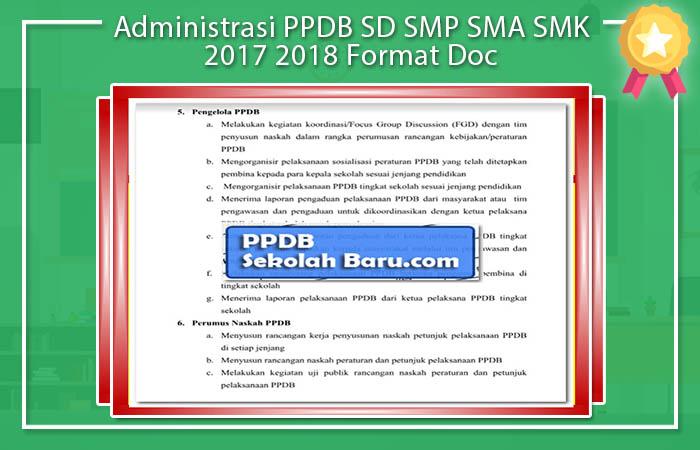 Administrasi PSB PPDB SD SMP SMA SMK 2017 2018 Format Doc