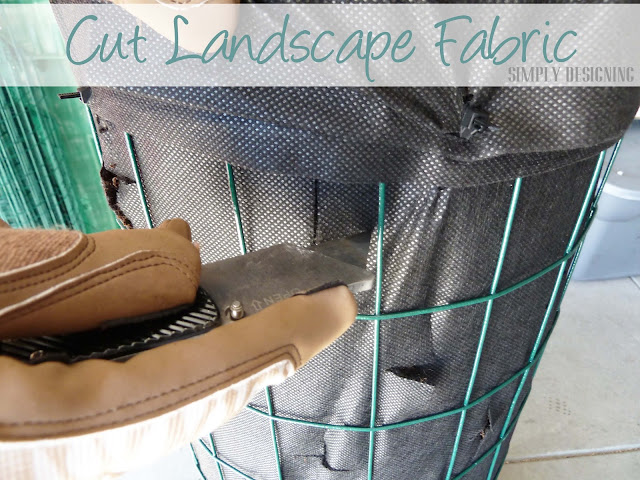 Cutting Landscape Fabric DIY Flower Tower {Part 3} #DigIn #HeartOutdoors #Spring #sponsored 5