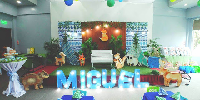 Woodland theme venue styling for Miguel's Baptism and First Birthday Celebration