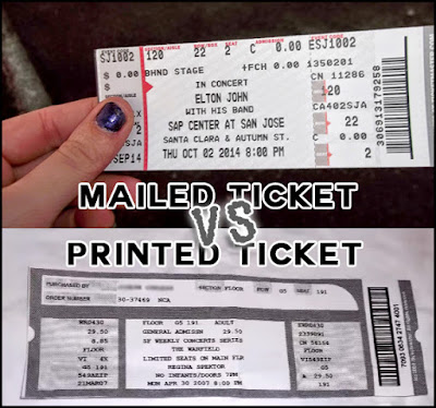 Concert tickets: Mailed VS Printed