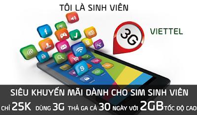 Gói 3G Viettel dành cho Học sinh sinh viên nhiều ưu đãi