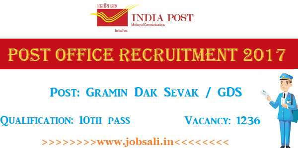 Post office jobs, Jharkhand Post office Vacancy, Jharkhand Postal circle GDS Vacancy 2017