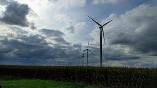 Wind turbines on the prairie in northwestern Illinois