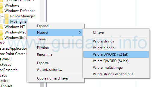 Nuovo valore dword MpEnginePus registro sistema