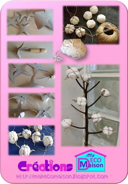 tuto fleurs de coton en laine cr ations ma d co maison. Black Bedroom Furniture Sets. Home Design Ideas