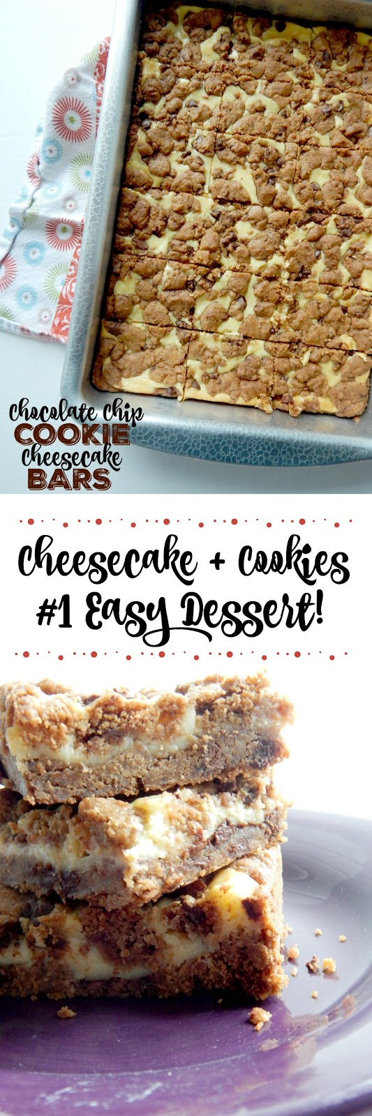 Chocolate Chip Cookie Cheesecake Bars...for those that love chocolate chip cookies AND love cheesecake!  Crispy on the cookie edges with a creamy middle cheesecake layer.  The perfect bar dessert! (sweetandsavoryfood.com)