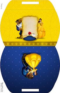 Caja tipo almoada de Fiesta de La Bella y la Bestia para imprimir gratis.