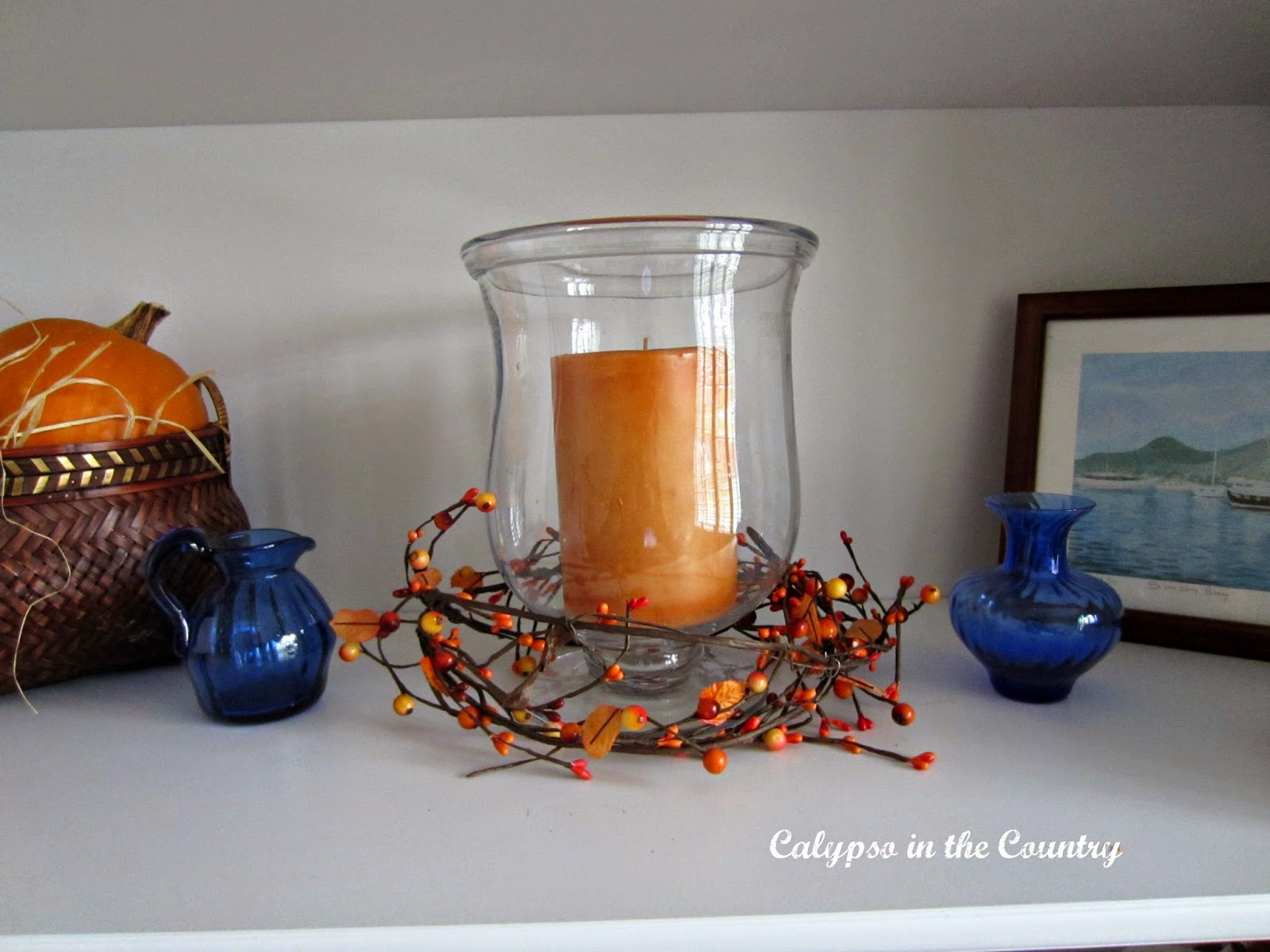 Orange candle for fall